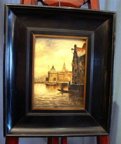 Harbour scene on porcelainSOLD