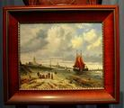 Beach scene on panelSOLD
