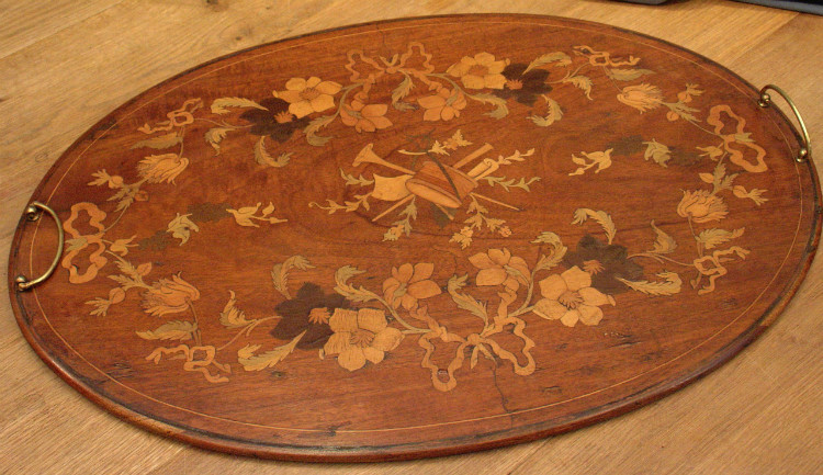 Floral marquetry traySOLD