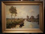 Dutch river scene with millSOLD